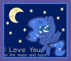 Size: 555x479 | Tagged: safe, artist:srsishere, princess luna, alicorn, pony, chibi, crescent moon, cute, female, heart eyes, hearts and hooves day, hooves to the chest, lunabetes, mare, moon, night, sky, solo, stars, valentine, valentine's day, wingding eyes