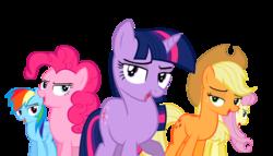 Size: 7000x4000 | Tagged: safe, artist:darkanima270, applejack, fluttershy, pinkie pie, rainbow dash, twilight sparkle, games ponies play, crystal empire cheer meme, lidded eyes, simple background, transparent background, vector