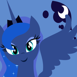 Size: 1000x1000   Tagged: safe, artist:demonreapergirl, princess luna, alicorn, pony, bust, cutie mark background, female, horn, jewelry, lineless, looking at you, mare, portrait, regalia, smiling, solo, spread wings, tiara, wings