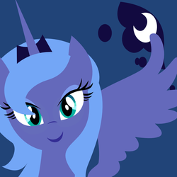 Size: 1000x1000   Tagged: safe, artist:demonreapergirl, princess luna, alicorn, pony, blue background, bust, cutie mark background, female, horn, jewelry, lineless, looking at you, mare, portrait, s1 luna, simple background, smiling, solo, spread wings, tiara, wings