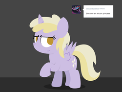 Size: 1280x960 | Tagged: alicorn, artist:dtcx97, ask, dinkycorn, dinky hooves, pony, post-crusade, safe, simple background, solo