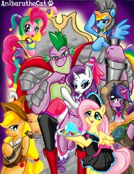 Size: 900x1165 | Tagged: safe, artist:anibaruthecat, applejack, clover the clever, fluttershy, pinkie pie, rainbow dash, rarity, smart cookie, spike, twilight sparkle, dragon, earth pony, pegasus, unicorn, applespike, armor, beefspike, book, boots, cape, clothes, cutie mark, dress, female, flutterspike, gem, harem, jester, long socks, maid, male, mane seven, mane six, pants, pinkiespike, plate, rainbowspike, shipping, shoes, socks, sparity, spike gets all the mares, straight, thigh highs, twispike, unicorn twilight