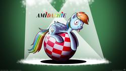 Size: 1920x1080 | Tagged: safe, artist:tobibrocki, rainbow dash, amiga, ball, solo