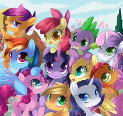 Size: 1900x1800 | Tagged: dead source, safe, artist:loyaldis, apple bloom, applejack, babs seed, fluttershy, pinkie pie, rainbow dash, rarity, scootaloo, spike, sweetie belle, twilight sparkle, dragon, earth pony, pegasus, pony, unicorn, applejack's hat, best friends, bow, cloud, cutie mark crusaders, female, filly, group shot, hair bow, heart eyes, male, mane seven, mane six, mare, needs more jpeg, open mouth, sky, smiling, unicorn twilight, wingding eyes