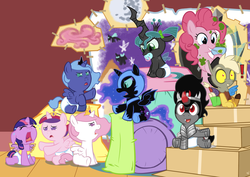 Size: 1768x1250 | Tagged: safe, artist:viraljp, discord, king sombra, nightmare moon, pinkie pie, princess cadance, princess celestia, princess luna, queen chrysalis, twilight sparkle, alicorn, nymph, pony, baby, baby ponies, baby pony, babylight sparkle, crying, cute, cutealis, cutedance, cutelestia, diaper, discute, exclamation point, eye contact, eyes closed, fake wings, female, filly, floppy ears, foal, frown, glare, grin, lunabetes, mare, messy, moonabetes, mouth hold, nightmare woon, nom, open mouth, pacifier, sad, sitting, smiling, sombradorable, time paradox, twiabetes, twilight sparkle (alicorn), wide eyes, woona