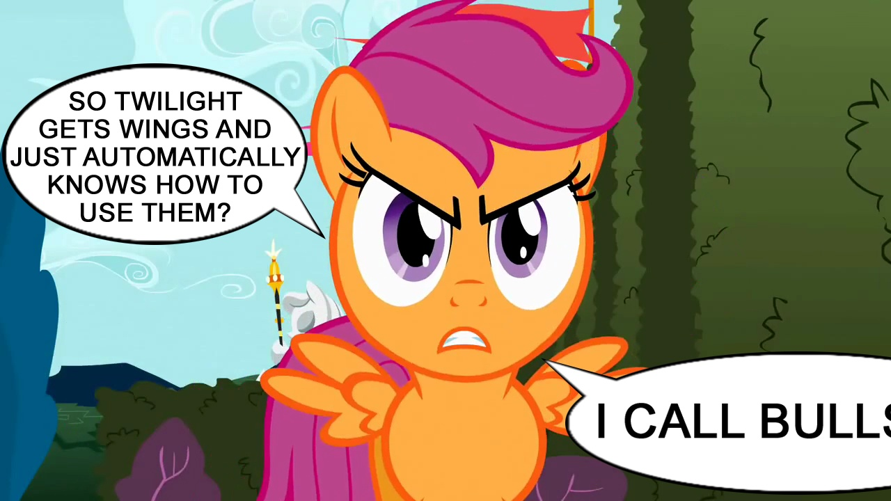 248435 Alicorn Drama Censored Dialogue Drama Edit Edited Screencap Magical Mystery Cure Safe Scootaloo Scootaloo Can T Fly Screencap Solo Speech Bubble The Return Of Harmony Derpibooru Scootaloo can't fly because she lacks the light bones of a pegasus, and has the heavy bones of an earth pony. magical mystery cure