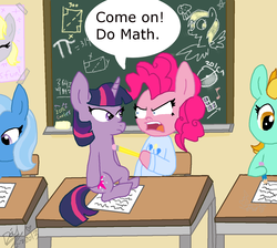 Size: 1412x1264   Tagged: dead source, safe, artist:daisy-dictator, derpy hooves, lightning dust, pinkie pie, trixie, twilight sparkle, pegasus, pony, angry, chalkboard, classroom, clothes, desk, dialogue, family guy, female, food, mare, math, muffin, paper, pencil, pi, school, speech bubble, sweater