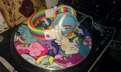 Size: 1296x776 | Tagged: safe, applejack, cheerilee, derpy hooves, dj pon-3, pinkie pie, princess celestia, rainbow dash, rarity, twilight sparkle, vinyl scratch, pegasus, pony, cutie mark, female, headphones, irl, mare, mixer, photo, stanton, turntable