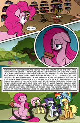 Size: 975x1500 | Tagged: safe, artist:faikie, applejack, fluttershy, pinkie pie, rainbow dash, rarity, earth pony, pegasus, pony, unicorn, magical mystery cure, ash, bad end, comic, female, golden oaks library, mare, mood whiplash, pinkamena diane pie, the big lebowski