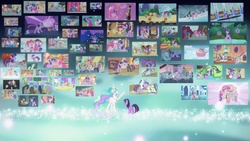 Size: 1366x768   Tagged: safe, artist:kvoakes17, edit, edited screencap, screencap, amethyst star, apple bloom, apple polish, applejack, berry punch, berryshine, bon bon, carrot top, chancellor puddinghead, cherry berry, clover the clever, commander hurricane, crystal clear, daisy, discord, dj pon-3, doctor whooves, flower wishes, fluttershy, gilda, golden harvest, lyra heartstrings, mayor mare, minuette, owlowiscious, philomena, pinkie pie, princess celestia, princess luna, princess platinum, private pansy, rainbow dash, rarity, scootaloo, sea swirl, seafoam, shining armor, smart cookie, sparkler, spike, star hunter, star swirl the bearded, sweetie belle, sweetie drops, time turner, top marks, twilight sparkle, twinkleshine, vinyl scratch, alicorn, griffon, parasprite, phoenix, pony, unicorn, a bird in the hoof, a canterlot wedding, a dog and pony show, a friend in deed, applebuck season, baby cakes, boast busters, bridle gossip, call of the cutie, dragon quest, dragonshy, fall weather friends, feeling pinkie keen, friendship is magic, games ponies play, green isn't your color, griffon the brush off, hearth's warming eve (episode), hearts and hooves day (episode), hurricane fluttershy, it's about time, just for sidekicks, keep calm and flutter on, lesson zero, look before you sleep, luna eclipsed, magic duel, magical mystery cure, mmmystery on the friendship express, over a barrel, owl's well that ends well, party of one, ponyville confidential, read it and weep, season 1, season 2, season 3, secret of my excess, sonic rainboom (episode), spike at your service, stare master, suited for success, swarm of the century, sweet and elite, the best night ever, the crystal empire, the cutie mark chronicles, the cutie pox, the last roundup, the mysterious mare do well, the return of harmony, the show stoppers, the super speedy cider squeezy 6000, the ticket master, too many pinkie pies, winter wrap up, wonderbolts academy, a true true friend, apple bloom's bow, applejack's 