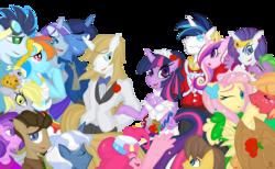 Size: 3579x2200   Tagged: safe, artist:falleninthedark, amethyst star, applejack, big macintosh, caramel, derpy hooves, dinky hooves, doctor whooves, fluttershy, night light, pinkie pie, pokey pierce, prince blueblood, princess cadance, rainbow dash, rarity, shining armor, soarin', spike, time turner, twilight sparkle, twilight velvet, anthro, carajack, clothes, dress, female, fluttermac, husband and wife, male, mane seven, mane six, nightvelvet, pokeypie, shiningcadance, shipping, soarindash, sparity, straight, twiblood, wedding, wedding dress