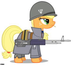 Size: 2500x2230 | Tagged: safe, artist:a4r91n, applejack, allied nations, clothes, command and conquer, crossover, m60, machine gun, military, red alert, simple background, transparent background, uniform, vector