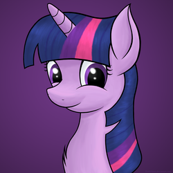 Size: 2500x2500 | Tagged: safe, artist:hawk9mm, twilight sparkle, bust, chest fluff, g4, happy, portrait, simple background, smiling, solo