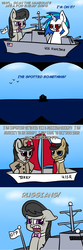 Size: 640x1920 | Tagged: safe, artist:scramjet747, dj pon-3, doctor whooves, octavia melody, time turner, vinyl scratch, boat, comic, dinkleberg, doctavia, duality, female, lesbian, male, russia, scratchtavia, shipping, shipping war, straight
