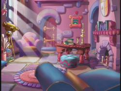 Size: 640x480 | Tagged: safe, the runaway rainbow, atlas, background, book, celebration castle, chair, coat of arms, couch, cushion, fireplace, g3, interior, light, map, maps, painting, shield, table, telescope, window