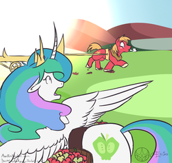 Size: 1000x948 | Tagged: 30 minute art challenge, alicorn, artist:aeritus, big macintosh, celestial mechanics, earth pony, female, greek mythology, helios, male, mare, pony, princess celestia, safe, stallion, sun, swapped cutie marks, tangible heavenly object