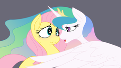 Size: 1136x636 | Tagged: safe, artist:reiduran, fluttershy, princess celestia, alicorn, pegasus, pony, bedroom eyes, blushing, boop, eye contact, female, flutterlestia, frown, lesbian, mare, nervous, nose wrinkle, noseboop, open mouth, scrunchy face, shipping, smiling, sweat, wavy mouth, wide eyes