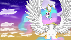 Size: 1920x1080 | Tagged: safe, artist:havikm66, princess celestia, back, behind, both cutie marks, looking back, plot, sitting, solo, spread wings