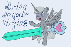 Size: 2700x1800 | Tagged: safe, artist:fantasyglow, silver spoon, alicorn, pony, alicornified, race swap, silvercorn, sword