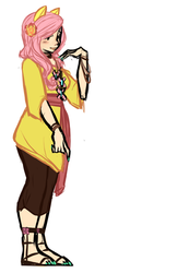 Size: 727x1125 | Tagged: safe, artist:php9, fluttershy, eared humanization, hippieshy, humanized, nail polish, sandals