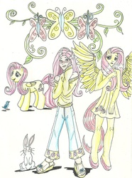 Size: 1584x2134 | Tagged: safe, artist:deathloc, fluttershy, anthro, bird, plantigrade anthro, pony, rabbit, anthro with ponies, clothes, cutie mark, dress, feet, humanized, sandals