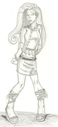Size: 752x1654 | Tagged: safe, artist:deathloc, fluttershy, clothes, feet, humanized, midriff, monochrome, sandals, skirt, solo, traditional art