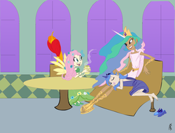 Size: 2422x1839 | Tagged: safe, artist:carnifex, fluttershy, philomena, princess celestia, princess luna, clothes, dress, gala dress, horned humanization, humanized, lap pillow, sandals, skinny, sleeping, winged humanization