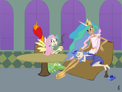 Size: 2422x1839 | Tagged: safe, artist:carnifex, fluttershy, philomena, princess celestia, princess luna, barefoot, bedroom eyes, clothes, dress, eyes closed, feet, gala dress, grin, horned humanization, humanized, lap pillow, sandals, side, sitting, skinny, sleeping, smiling, winged humanization