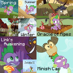 Size: 400x400 | Tagged: safe, edit, edited screencap, screencap, cranky doodle donkey, owlowiscious, spike, donkey, dragon, dragon quest, just for sidekicks, adventure ponies, autumn, link's awakening, minish cap, oracle of ages, oracle of seasons, raft, spring, summer, text, the legend of zelda, winter, zelda ii: the adventure of link