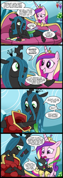 Size: 784x2200 | Tagged: safe, artist:madmax, princess cadance, queen chrysalis, alien, changeling, changeling larva, comic, couch, hilarious in hindsight, junior, larva, mommy chrissy, mother, purse