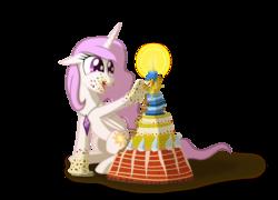 Size: 1800x1299 | Tagged: safe, artist:bonaxor, philomena, princess celestia, oc, oc:phealomena, alicorn, phoenix, cake, jewelry, necklace, pet, pink-mane celestia, smiling, young, young celestia, younger