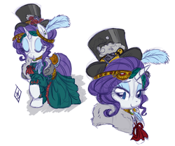 Size: 1164x975 | Tagged: safe, artist:whitediamonds, rarity, alternate hairstyle, clothes, hat, simple background, steampunk, top hat, white background