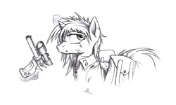 Size: 3000x1800   Tagged: safe, artist:whitepone, oc, oc only, oc:littlepip, pony, unicorn, fallout equestria, black and white, clothes, fanfic, fanfic art, female, glowing horn, grayscale, gun, handgun, little macintosh, magic, mare, monochrome, pencil drawing, revolver, simple background, solo, telekinesis, traditional art, vault suit, weapon, white background