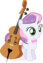 Size: 6000x8811 | Tagged: safe, artist:silveralchemistpony, sweetie belle, pony, absurd resolution, alternate cutie mark, blank flank, bowtie, cello, cutie mark, female, filly, foal, fusion, grin, hooves, musical instrument, simple background, smiling, solo, swapped cutie marks, transparent background, vector