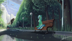 Size: 2841x1600 | Tagged: safe, artist:rublegun, lyra heartstrings, bench, car, city, cityscape, cloud, cloudy, female, lamppost, leaves, outdoors, park, reflection, scenery, sky, solo, tree, water