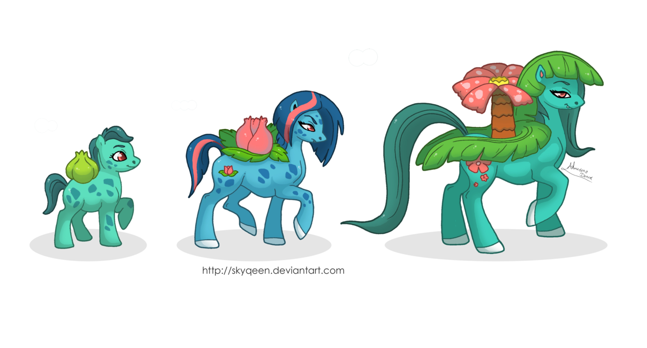 255332 Artist Mysweetqueen Bulbasaur Evolution Chart Female Filly Flower Pony Foal Ivysaur Mare Mother And Daughters Plant