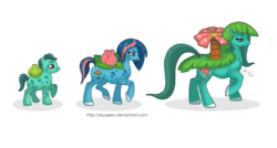 Size: 1280x688 | Tagged: safe, artist:almairis, bulbasaur, ivysaur, plant pony, venusaur, evolution chart, female, filly, flower, flower pony, foal, mare, mother and daughter, pokémon, ponified, ponymon, simple background, transparent background