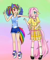 Size: 700x850 | Tagged: safe, artist:meowkin, fluttershy, rainbow dash, armpits, breasts, clothes, delicious flat chest, eared humanization, flattershy, humanized, skinny, skirt, tailed humanization, tanktop, winged humanization