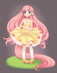 Size: 546x700 | Tagged: dead source, safe, artist:hirukio, fluttershy, clothes, dress, eared humanization, humanized, solo, strapless, tailed humanization, watermark