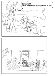 Size: 650x900   Tagged: safe, artist:envy, fluttershy, pinkie pie, princess celestia, twilight sparkle, alicorn, pegasus, pony, unicorn, a bird in the hoof, bad end, bitchlestia, comic, dark comedy, execution, female, floppy ears, flutterbuse, flying, frown, guillotine, imminent death, imminent decapitation, mare, monochrome, mouth hold, sad, scene parody, tyrant celestia