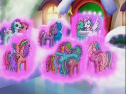 Size: 640x480 | Tagged: safe, bow tie (g3), coconut grove, cotton candy (g3), fizzypop, minty, piccolo, pinkie pie, pinkie pie (g3), rainbow dash, rainbow dash (g3), sparkleworks, star catcher, starbeam, sweetberry, thistle whistle, a very minty christmas, g3, glitter glide, glow, hug, pink, power of love