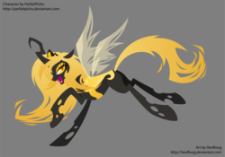 Size: 1068x748   Tagged: safe, artist:hexfloog, oc, oc only, oc:aurelia, changeling, changeling queen, changeling oc, changeling queen oc, female, solo, yellow changeling