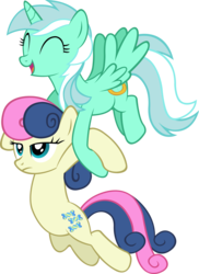 Size: 4000x5505 | Tagged: safe, artist:artpwny, bon bon, lyra heartstrings, sweetie drops, alicorn, earth pony, pony, absurd resolution, alicornified, bon bon is not amused, carrying, duo, eyes closed, flying, frown, happy, lyracorn, race swap, simple background, smiling, transparent background, unamused, vector