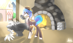 Size: 843x495 | Tagged: safe, artist:atrixy, oc, oc only, anvil, apron, blacksmith, blushing, clothes, fireplace, hammer, looking at you, looking back, mouth hold, raised hoof, solo, underhoof