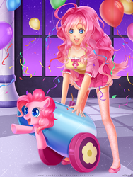 Size: 1200x1600   Tagged: dead source, safe, artist:e-x-p-i-e, artist:pockicchi, pinkie pie, earth pony, human, pony, :d, balloon, blushing, clothes, confetti, cute, diapinkes, female, happy, human ponidox, humanized, open mouth, party cannon, pointing, pony cannonball, self ponidox, skirt, smiling, streamers, underhoof