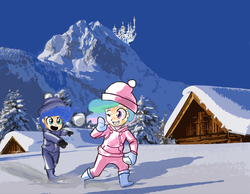 Size: 1640x1275 | Tagged: safe, artist:johnjoseco, artist:rammbrony, edit, princess celestia, princess luna, human, canterlot, cute, grin, humanized, mountain, one eye closed, open mouth, sisters, smiling, snow, snowball, snowball fight, throwing, wink, woona, young