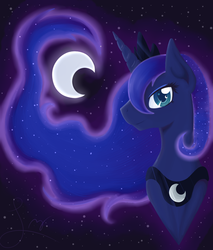 Size: 970x1136 | Tagged: dead source, safe, artist:leximoon, princess luna, alicorn, pony, bust, colored pupils, female, horn, jewelry, mare, moon, portrait, profile, regalia, solo, tiara