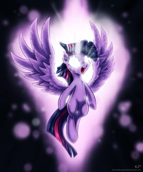 Size: 1000x1200 | Tagged: safe, artist:kp-shadowsquirrel, twilight sparkle, alicorn, pony, magical mystery cure, apotheosis, bipedal, female, glowing eyes, halo, magic, magic overload, mare, open mouth, solo, spread wings, twilight sparkle (alicorn)