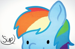 Size: 893x589 | Tagged: safe, artist:higgly-chan, rainbow dash, pegasus, pony, bust, dialogue, female, mare, portrait, solo, speech bubble