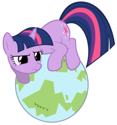 Size: 4981x5313 | Tagged: dead source, safe, artist:dentist73548, twilight sparkle, pony, unicorn, secret of my excess, absurd resolution, crouching, cute, female, frown, glare, globe, mare, planet, simple background, solo, tangible heavenly object, transparent background, twilight cat, unicorn twilight, vector